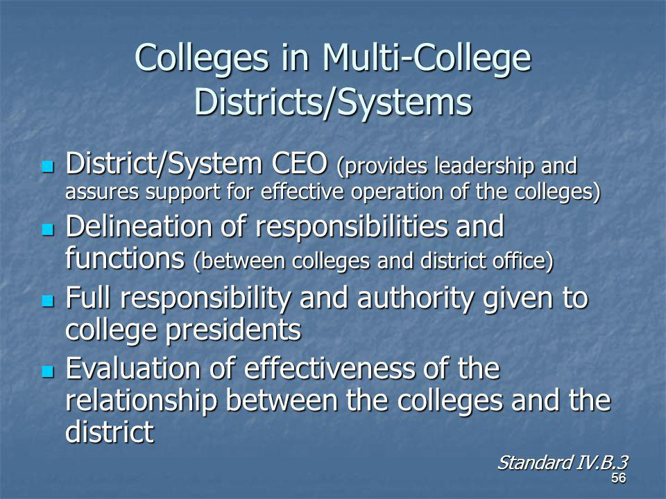 56 Colleges in Multi-College Districts/Systems District/System CEO (provides leadership and assures support for effective operation of the colleges) District/System CEO (provides leadership and assures support for effective operation of the colleges) Delineation of responsibilities and functions (between colleges and district office) Delineation of responsibilities and functions (between colleges and district office) Full responsibility and authority given to college presidents Full responsibility and authority given to college presidents Evaluation of effectiveness of the relationship between the colleges and the district Evaluation of effectiveness of the relationship between the colleges and the district Standard IV.B.3