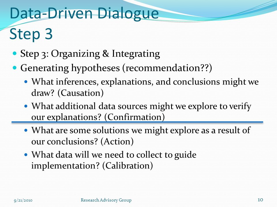 Data-Driven Dialogue Step 3 Step 3: Organizing & Integrating Generating hypotheses (recommendation ) What inferences, explanations, and conclusions might we draw.