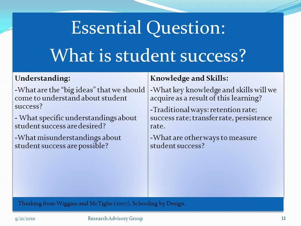 Essential Question: What is student success.