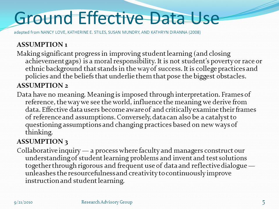Ground Effective Data Use adapted from NANCY LOVE, KATHERINE E.