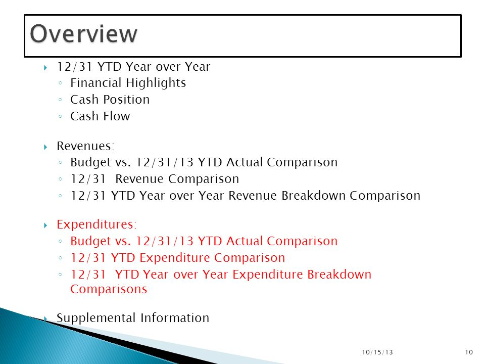  12/31 YTD Year over Year ◦ Financial Highlights ◦ Cash Position ◦ Cash Flow  Revenues: ◦ Budget vs.