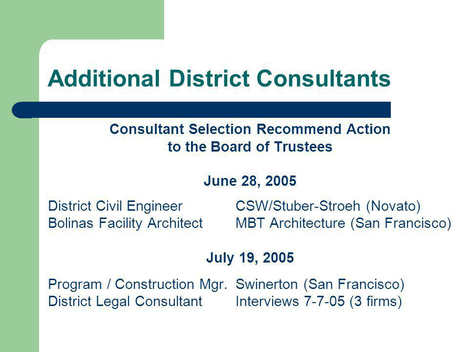 Additional District Consultants Consultant Selection Recommend Action to the Board of Trustees June 28, 2005 District Civil EngineerCSW/Stuber-Stroeh (Novato) Bolinas Facility ArchitectMBT Architecture (San Francisco) July 19, 2005 Program / Construction Mgr.Swinerton (San Francisco) District Legal ConsultantInterviews 7-7-05 (3 firms)