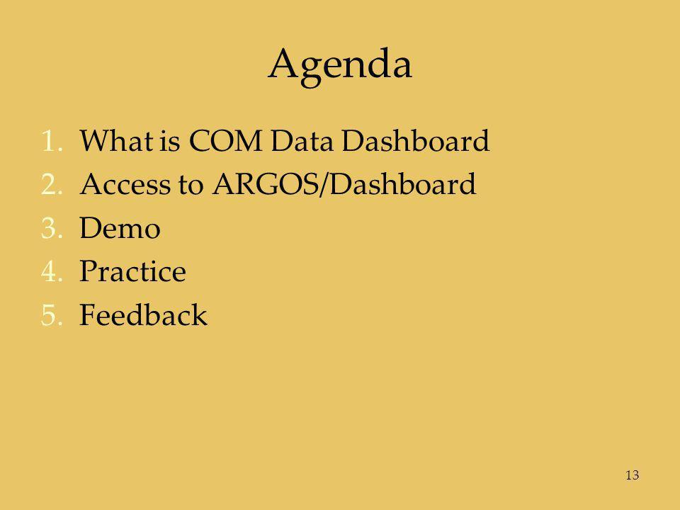 Agenda 1.What is COM Data Dashboard 2.Access to ARGOS/Dashboard 3.Demo 4.Practice 5.Feedback 13