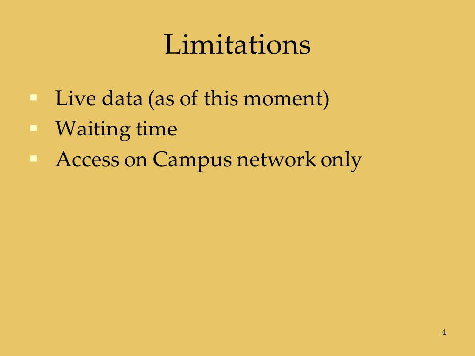 Limitations  Live data (as of this moment)  Waiting time  Access on Campus network only 4
