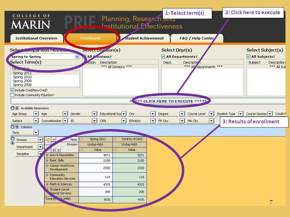 1: Select term(s) 2: Click here to execute 3: Results of enrollment 7