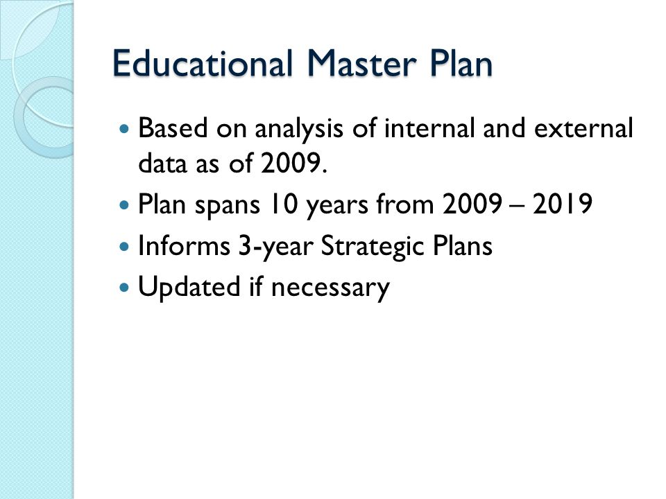 Educational Master Plan Based on analysis of internal and external data as of 2009.