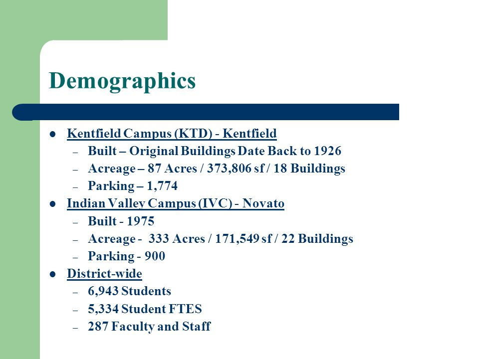 Demographics Kentfield Campus (KTD) - Kentfield – Built – Original Buildings Date Back to 1926 – Acreage – 87 Acres / 373,806 sf / 18 Buildings – Parking – 1,774 Indian Valley Campus (IVC) - Novato – Built - 1975 – Acreage - 333 Acres / 171,549 sf / 22 Buildings – Parking - 900 District-wide – 6,943 Students – 5,334 Student FTES – 287 Faculty and Staff