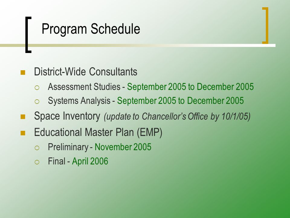 Program Schedule District-Wide Consultants  Assessment Studies - September 2005 to December 2005  Systems Analysis - September 2005 to December 2005 Space Inventory (update to Chancellor's Office by 10/1/05) Educational Master Plan (EMP)  Preliminary - November 2005  Final - April 2006