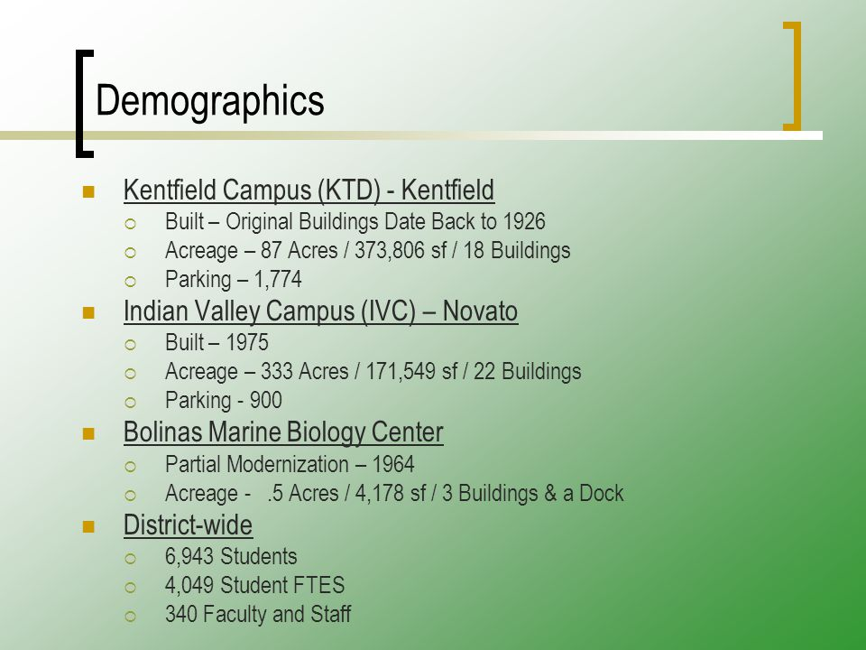 Demographics Kentfield Campus (KTD) - Kentfield  Built – Original Buildings Date Back to 1926  Acreage – 87 Acres / 373,806 sf / 18 Buildings  Parking – 1,774 Indian Valley Campus (IVC) – Novato  Built – 1975  Acreage – 333 Acres / 171,549 sf / 22 Buildings  Parking - 900 Bolinas Marine Biology Center  Partial Modernization – 1964  Acreage -.5 Acres / 4,178 sf / 3 Buildings & a Dock District-wide  6,943 Students  4,049 Student FTES  340 Faculty and Staff