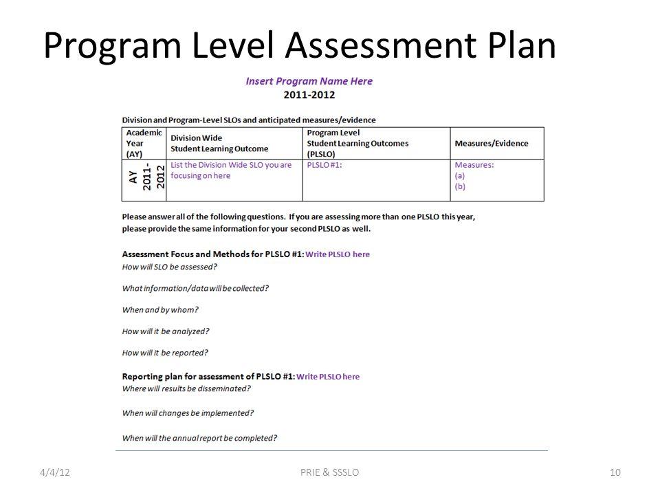 Program Level Assessment Plan 4/4/12PRIE & SSSLO10