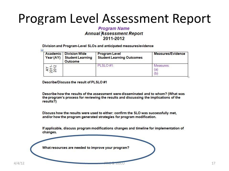 Program Level Assessment Report 4/4/12PRIE & SSSLO17