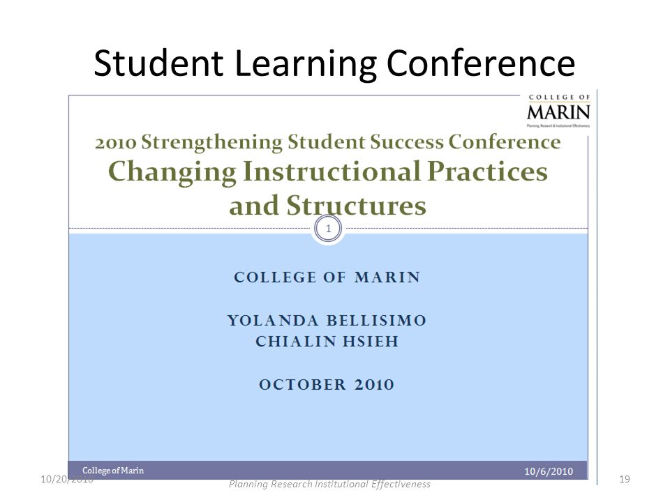 Student Learning Conference 10/20/201019 Planning Research Institutional Effectiveness