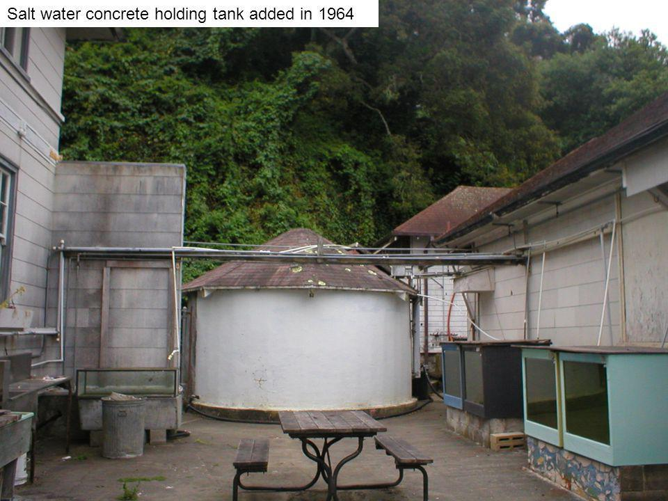 Salt water concrete holding tank added in 1964