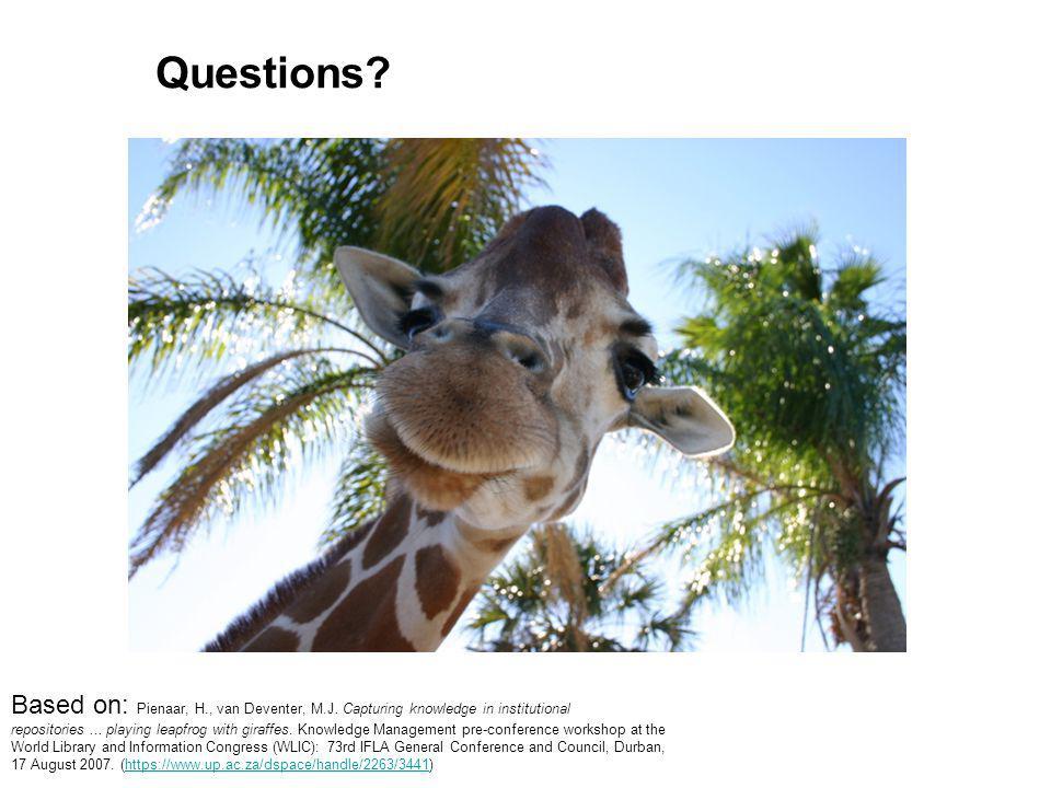 Questions. Based on: Pienaar, H., van Deventer, M.J.