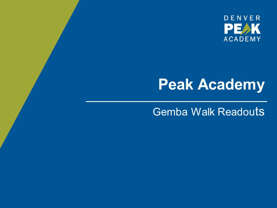 GEMBA WALK – READOUTS Each team will have 10 minutes to present your findings from the Gemba Walk, with 5 minutes for Q&A Class Discussion for each Gemba Walk Next steps: o Presenting your findings to the agencies/departments that hosted your Gemba Walk