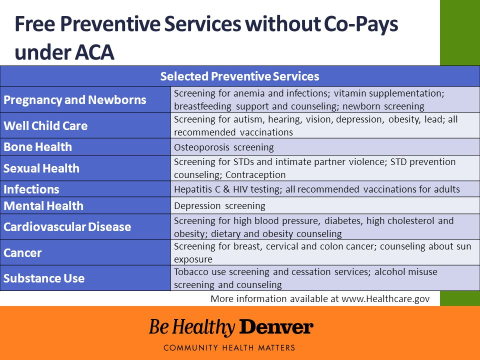 Free Preventive Services without Co-Pays under ACA Selected Preventive Services Pregnancy and Newborns Screening for anemia and infections; vitamin supplementation; breastfeeding support and counseling; newborn screening Well Child Care Screening for autism, hearing, vision, depression, obesity, lead; all recommended vaccinations Bone Health Osteoporosis screening Sexual Health Screening for STDs and intimate partner violence; STD prevention counseling; Contraception Infections Hepatitis C & HIV testing; all recommended vaccinations for adults Mental Health Depression screening Cardiovascular Disease Screening for high blood pressure, diabetes, high cholesterol and obesity; dietary and obesity counseling Cancer Screening for breast, cervical and colon cancer; counseling about sun exposure Substance Use Tobacco use screening and cessation services; alcohol misuse screening and counseling More information available at www.Healthcare.gov