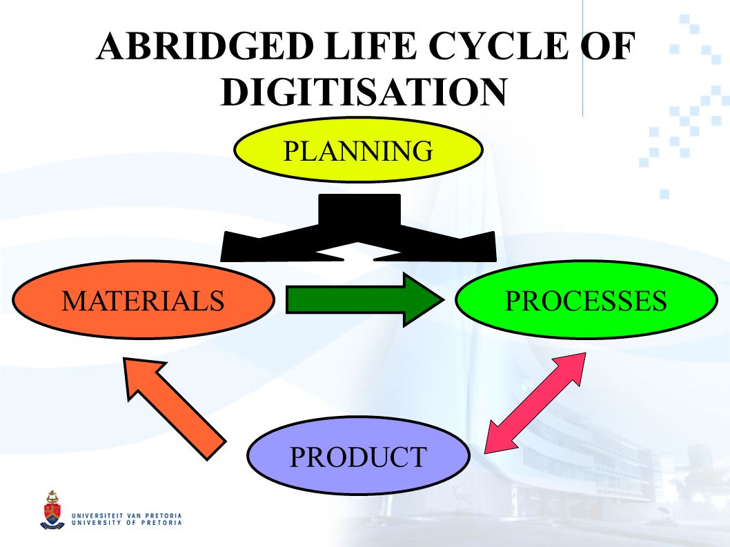 ABRIDGED LIFE CYCLE OF DIGITISATION MATERIALS PROCESSES PRODUCT PLANNING