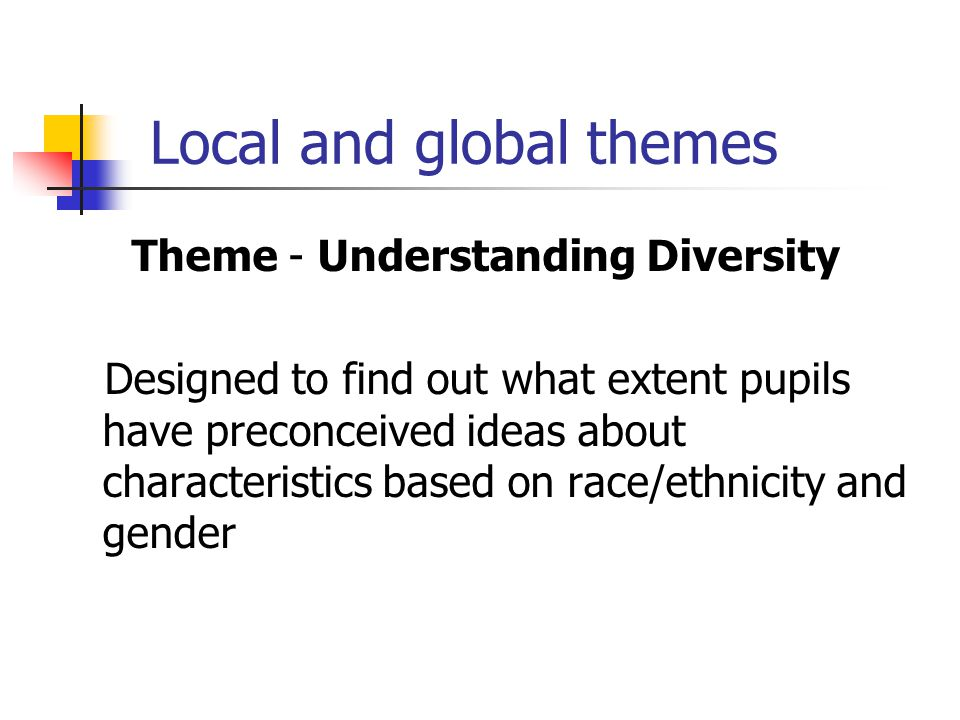 Local and global themes Theme - Understanding Diversity Designed to find out what extent pupils have preconceived ideas about characteristics based on
