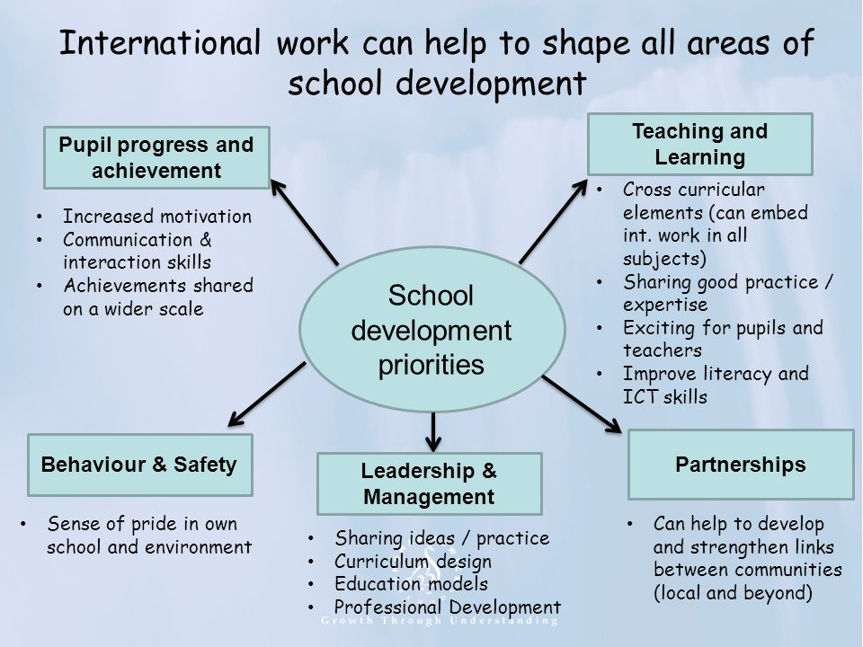 International work can help to shape all areas of school development School development priorities Pupil progress and achievement Teaching and Learnin
