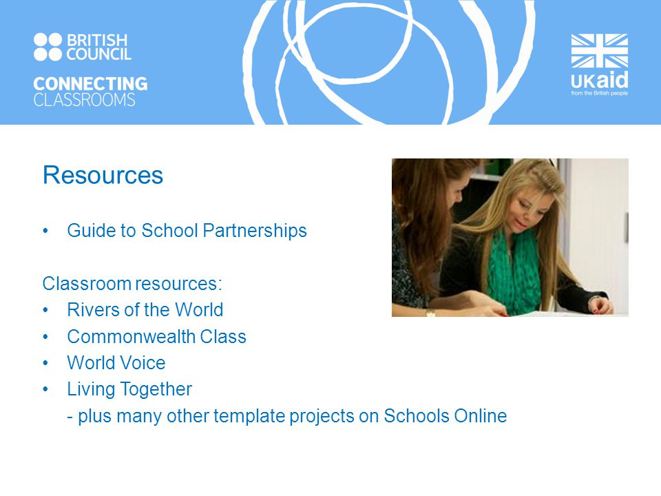 Resources Guide to School Partnerships Classroom resources: Rivers of the World Commonwealth Class World Voice Living Together - plus many other template projects on Schools Online