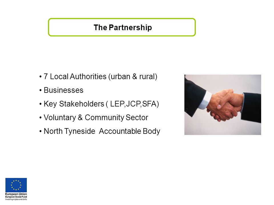 7 Local Authorities (urban & rural) Businesses Key Stakeholders ( LEP,JCP,SFA) Voluntary & Community Sector North Tyneside Accountable Body The Partnership