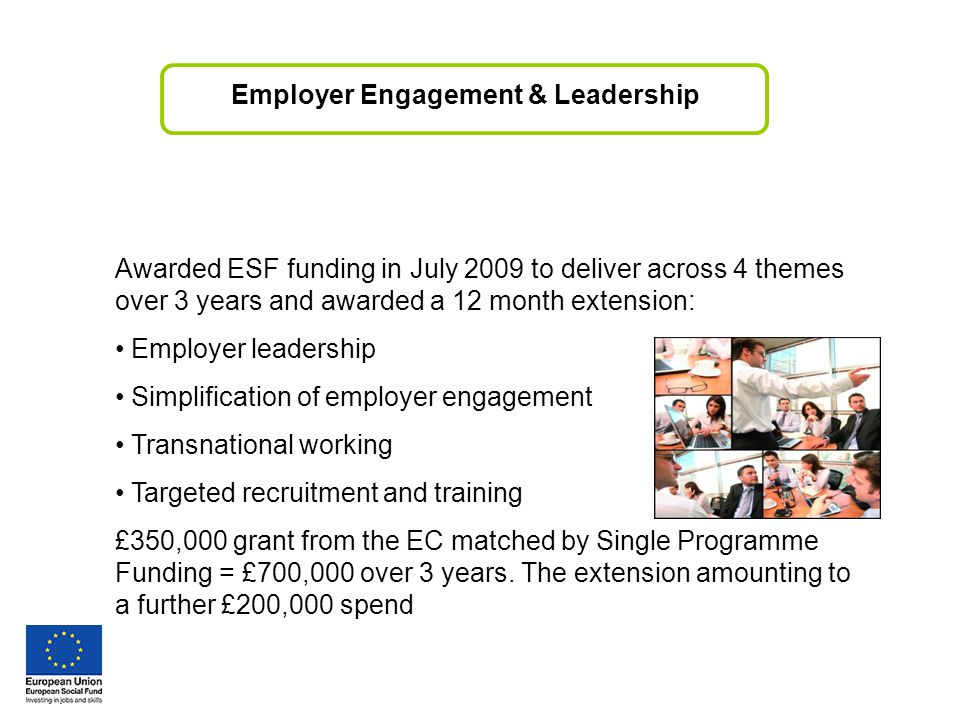 Awarded ESF funding in July 2009 to deliver across 4 themes over 3 years and awarded a 12 month extension: Employer leadership Simplification of employer engagement Transnational working Targeted recruitment and training £350,000 grant from the EC matched by Single Programme Funding = £700,000 over 3 years.