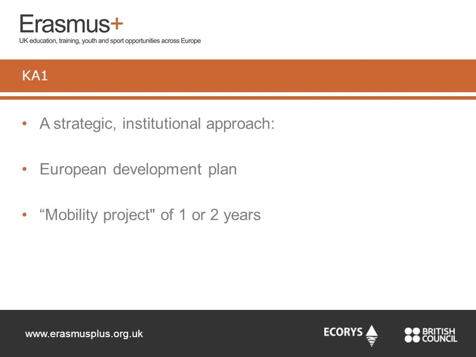 "www.erasmusplus.org.uk A strategic, institutional approach: European development plan ""Mobility project"