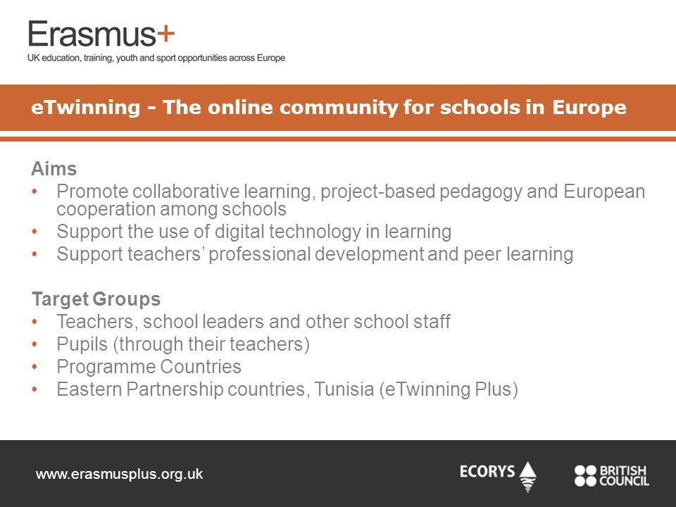 www.erasmusplus.org.uk Aims Promote collaborative learning, project-based pedagogy and European cooperation among schools Support the use of digital t