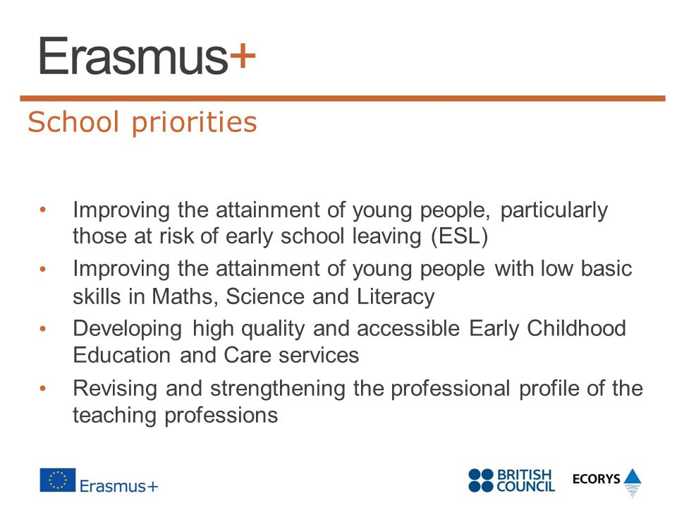 School priorities Improving the attainment of those at risk of early school Improving the attainment of young people, particularly leaving (ESL) young