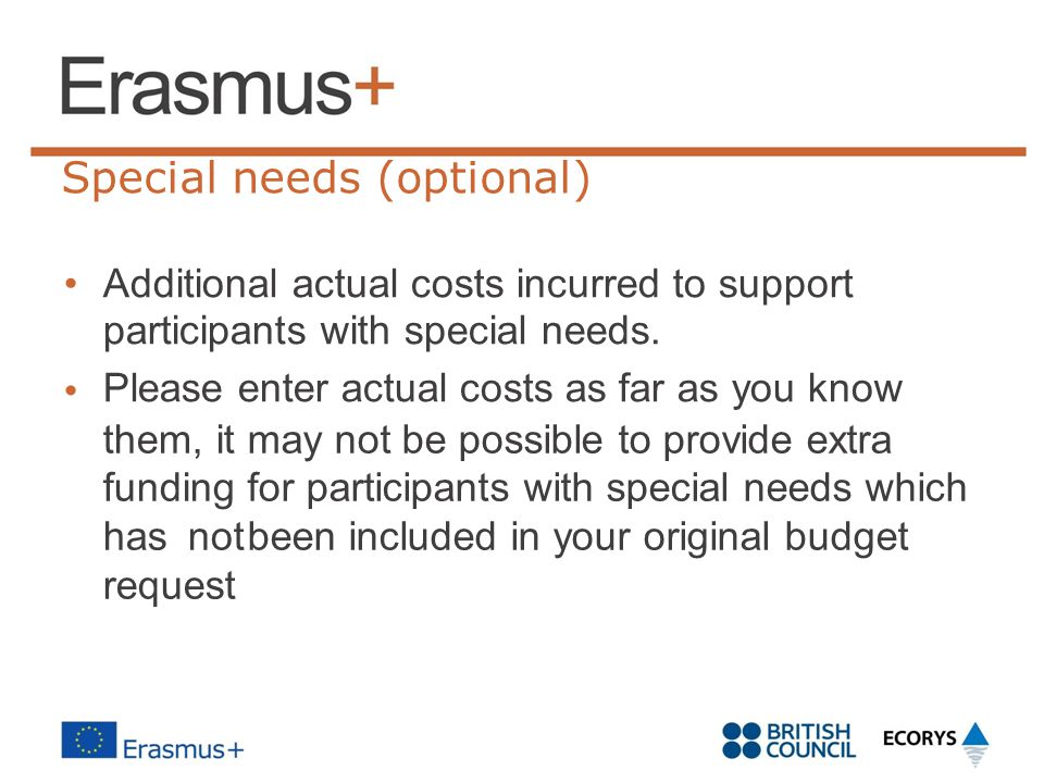 Special needs (optional) Additional actual costs incurred to support participants with special needs. Please enter actual costs as far as you know the