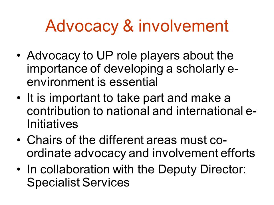 Advocacy & involvement Advocacy to UP role players about the importance of developing a scholarly e- environment is essential It is important to take part and make a contribution to national and international e- Initiatives Chairs of the different areas must co- ordinate advocacy and involvement efforts In collaboration with the Deputy Director: Specialist Services