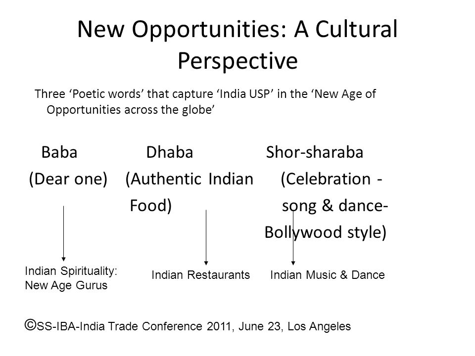New Opportunities: A Cultural Perspective Three 'Poetic words' that capture 'India USP' in the 'New Age of Opportunities across the globe' Baba Dhaba Shor-sharaba (Dear one) (Authentic Indian (Celebration - Food) song & dance- Bollywood style) Indian Spirituality: New Age Gurus Indian RestaurantsIndian Music & Dance © SS-IBA-India Trade Conference 2011, June 23, Los Angeles