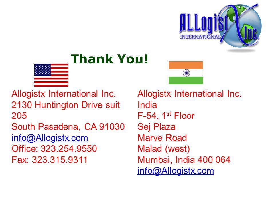 Thank You. Allogistx International Inc.