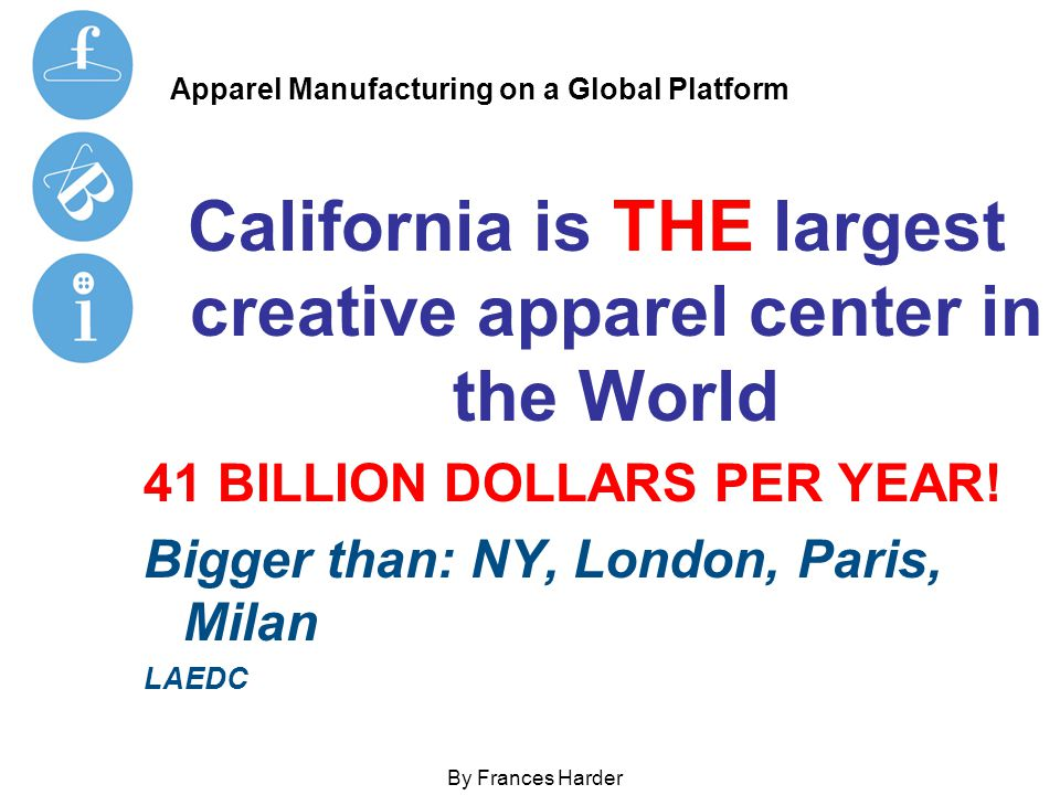 Apparel Manufacturing on a Global Platform By Frances Harder Questions US manufacturers must know and ask any domestic or international partner