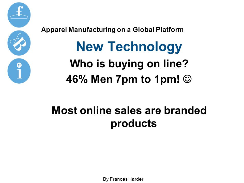 Apparel Manufacturing on a Global Platform New Technology Who is buying on line.
