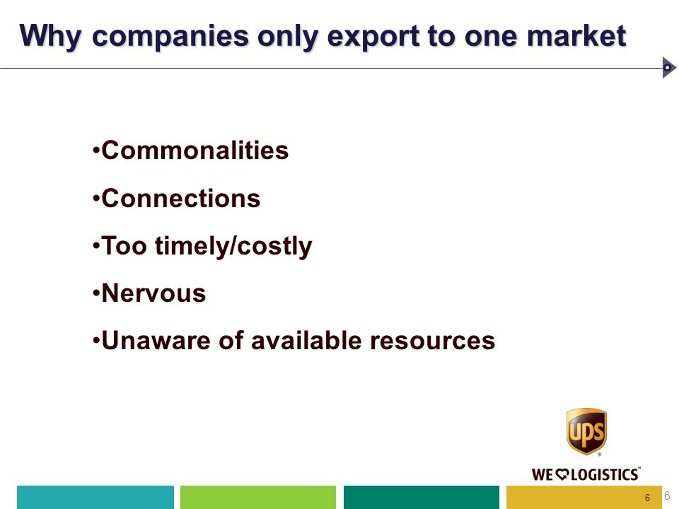 6 Why companies only export to one market 6 Commonalities Connections Too timely/costly Nervous Unaware of available resources