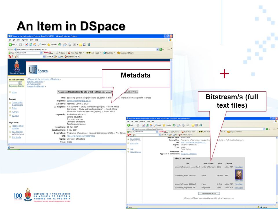 An Item in DSpace Metadata Bitstream/s (full text files)