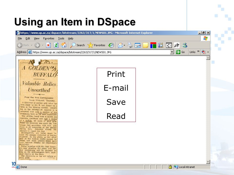 Using an Item in DSpace Print E-mail Save Read