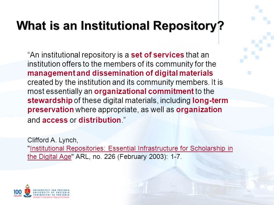 What is an Institutional Repository.