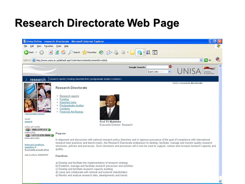 Research Directorate Web Page