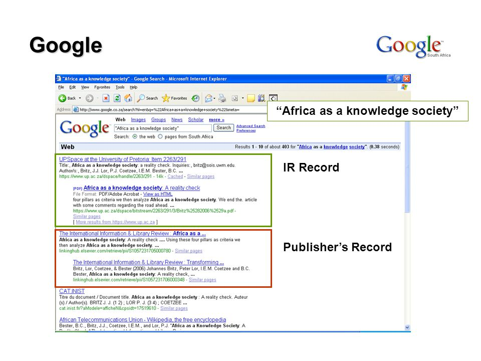 Google Africa as a knowledge society IR Record Publisher's Record