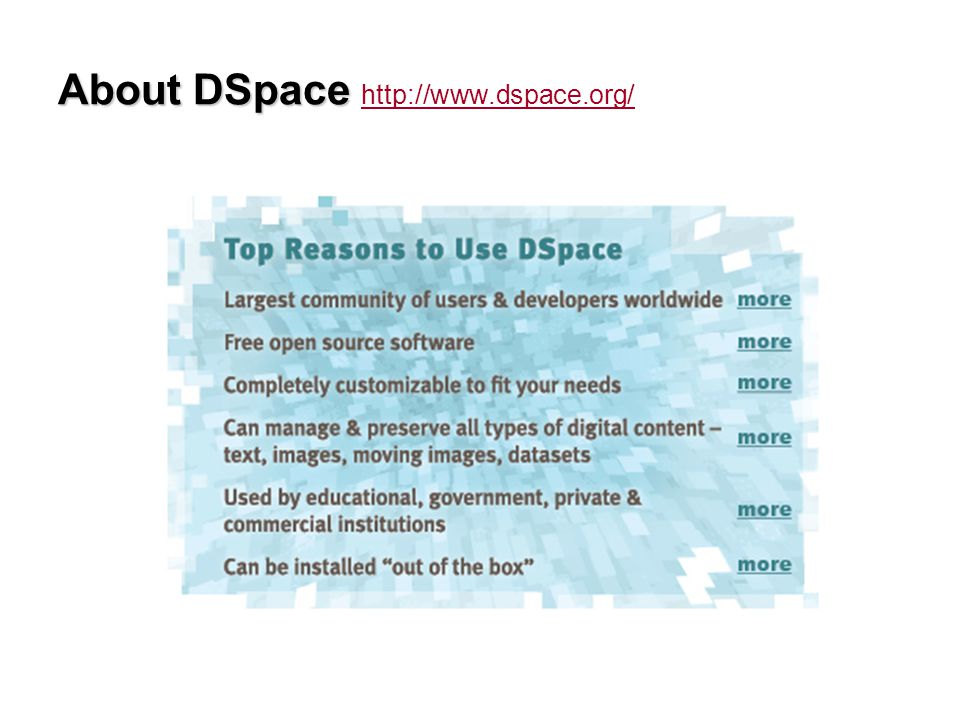 About DSpace About DSpace http://www.dspace.org/ http://www.dspace.org/