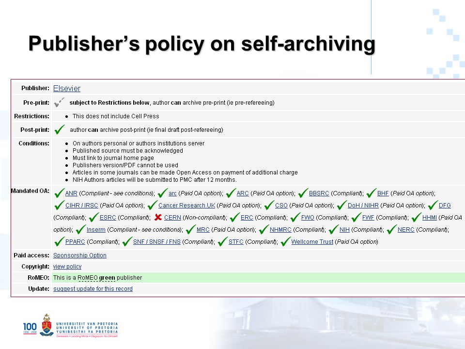 Publisher's policy on self-archiving