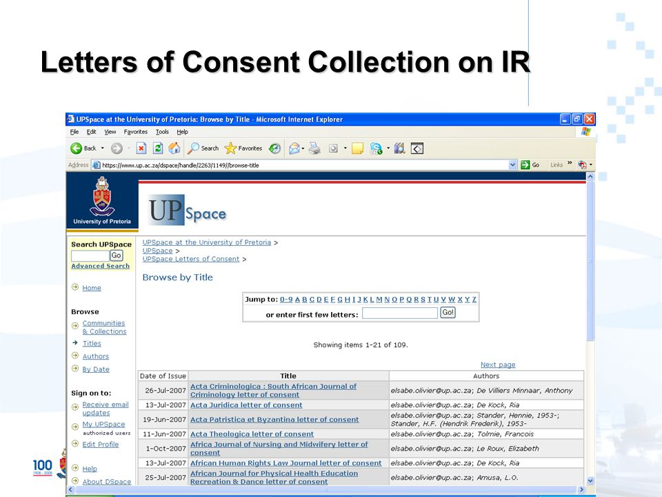 Letters of Consent Collection on IR