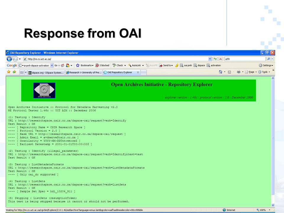 Response from OAI