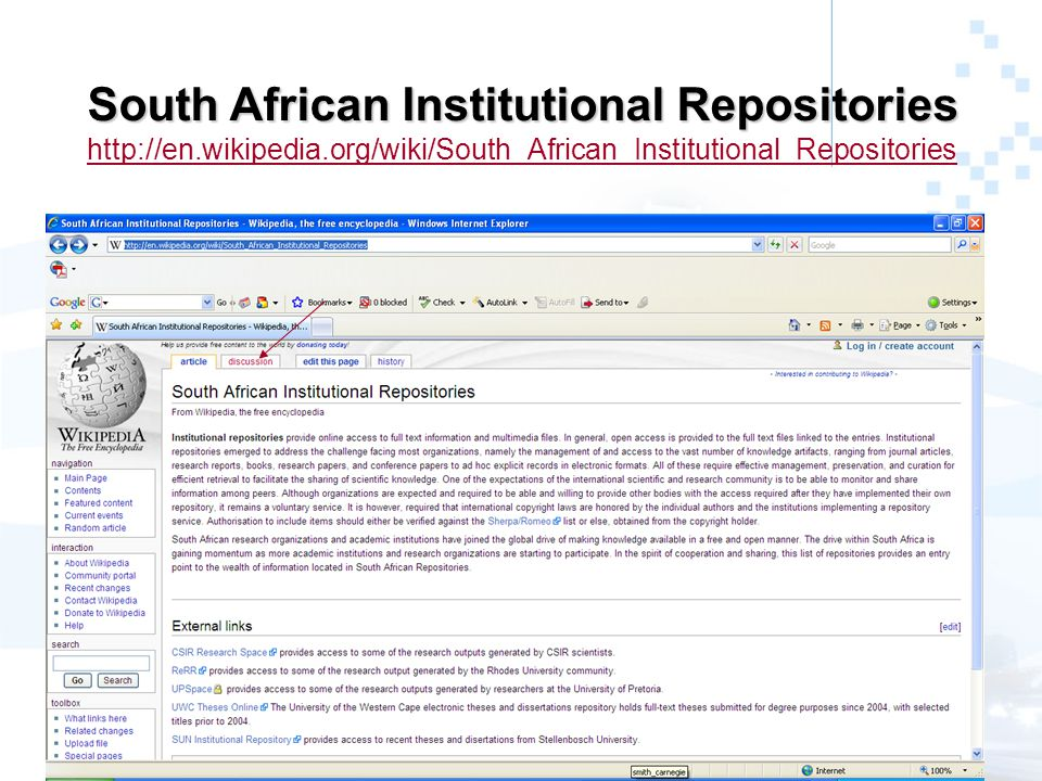 South African Institutional Repositories South African Institutional Repositories http://en.wikipedia.org/wiki/South_African_Institutional_Repositories http://en.wikipedia.org/wiki/South_African_Institutional_Repositories