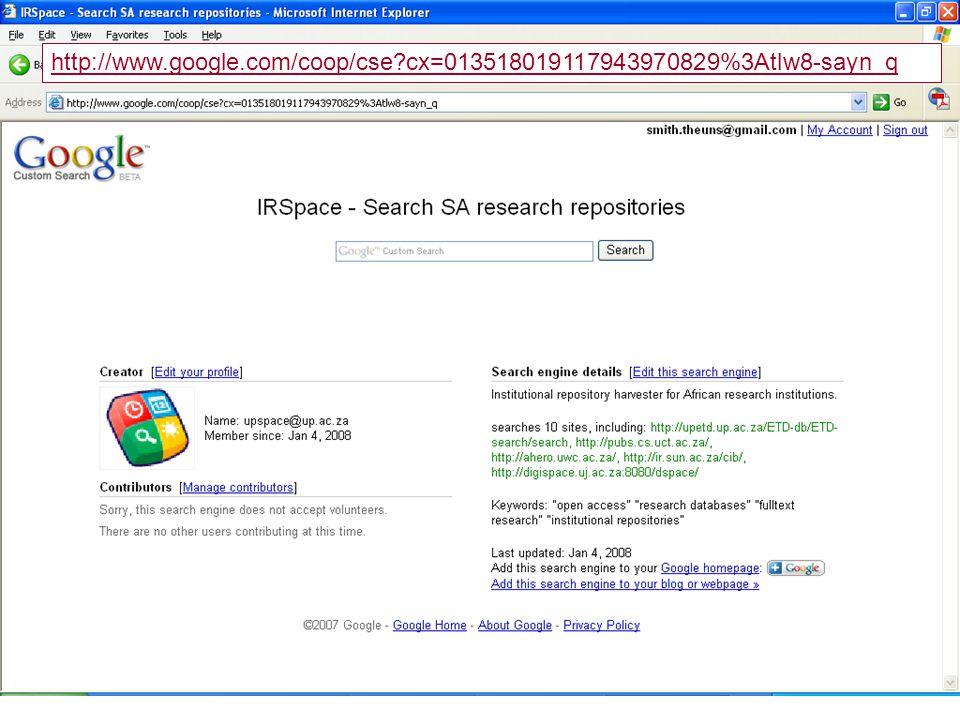 http://www.google.com/coop/cse cx=013518019117943970829%3Atlw8-sayn_q