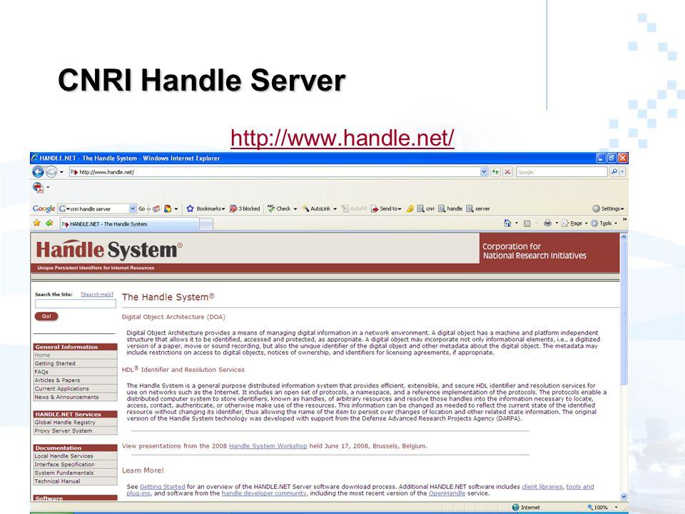 CNRI Handle Server http://www.handle.net/
