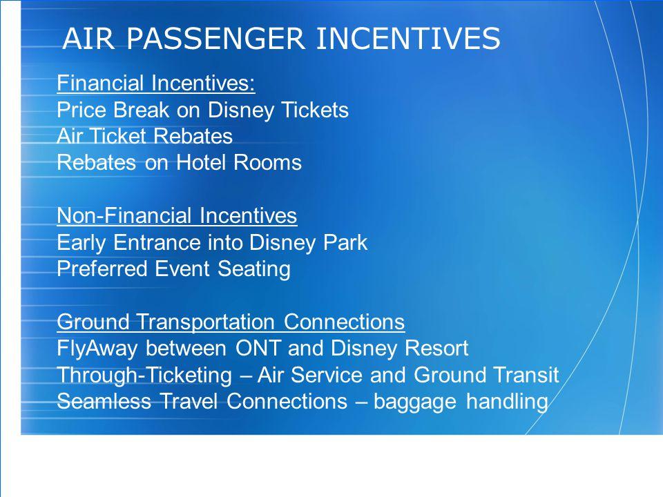 11 AIR PASSENGER INCENTIVES Financial Incentives: Price Break on Disney Tickets Air Ticket Rebates Rebates on Hotel Rooms Non-Financial Incentives Ear