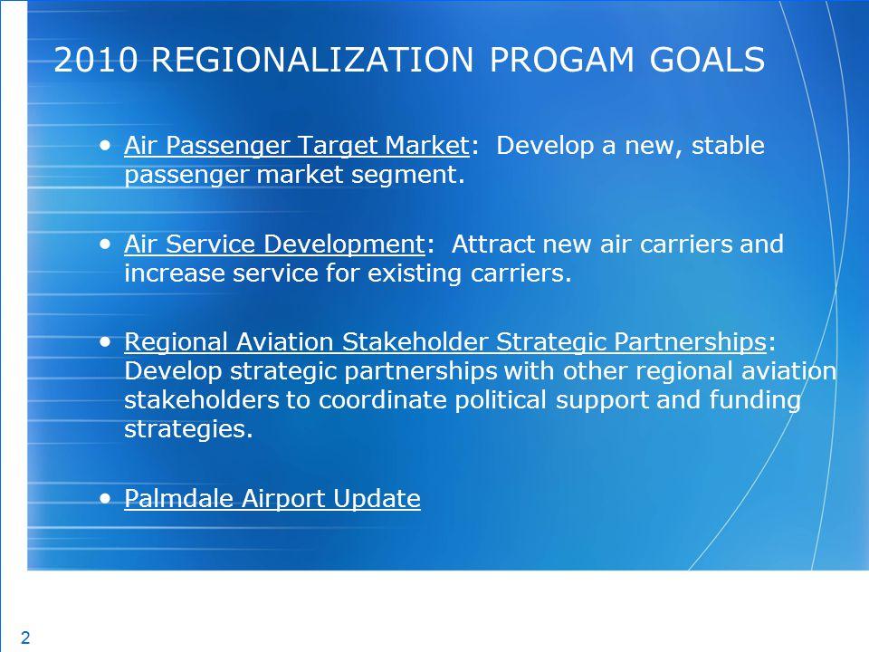 2 2 2010 REGIONALIZATION PROGAM GOALS Air Passenger Target Market: Develop a new, stable passenger market segment. Air Service Development: Attract ne